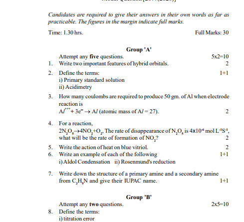 class 12 chemistry model question