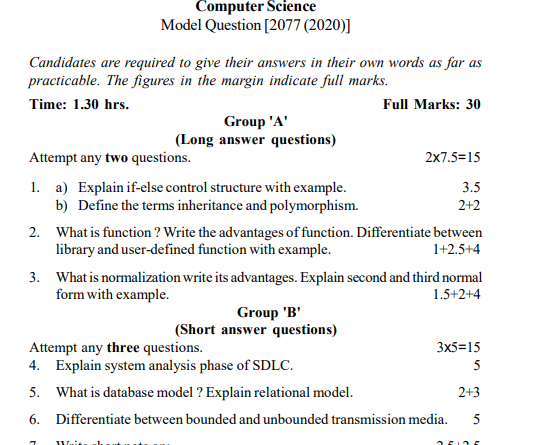 Class 12 Model Questions Computer Science