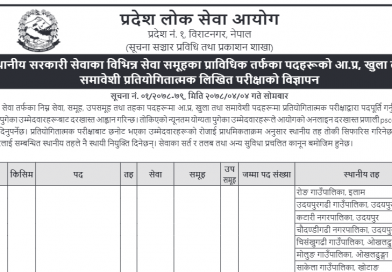 Pradesh 1 Loksewa Aayog Vacancy Details